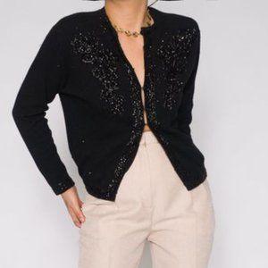 Vintage 50s Silk black sequin cardigan
